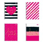 Caderno Espiral Capa Dura Universitário 1 Matéria Love Pink 96 Folhas Tilibra