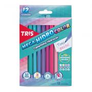 Caneta Hidrocor Mega Hidro Color Tons Pastel 12 Cores Tris