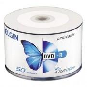 DVD-R 16x Printable Bulk com 50 unidades Elgin