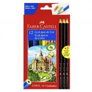 Ecolápis de Cor 12 Cores + 3 Ecolápis Grafite Faber Castell