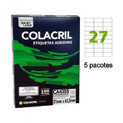 Etiqueta A4 31mm x 63,5mm 500 Folhas CA4355 Colacril