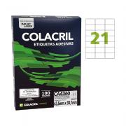 Etiqueta A4 38,1mm x 63,5mm 100 folhas Colacril