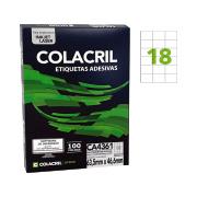 Etiqueta A4 46,6mm x 63,5mm 100 folhas Colacril