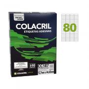 Etiqueta Carta 12,7mm x 44,45mm 100 folhas Colacril