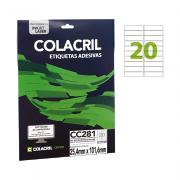 Etiqueta Carta 25,4mm x 101,6mm 25 Folhas CC281 Colacril