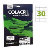 Etiqueta Carta 25,4mm x 66,7mm 25 folhas CC280 Colacril