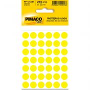 Etiqueta Multiuso Ø 12 mm 5 folhas TP12 Amarelo Pimaco