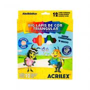 Giz de Cera Curto Triangular 12 Cores Acrilex
