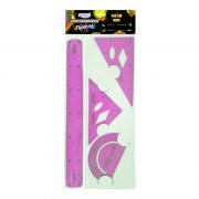 Jogo Geométrico Flexível Neon Rosa BRW