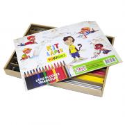 Kit Lápis de Cor 14 Cores + Apontador + Borracha 170 Peças Fokinho
