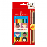Lápis De Cor 12 Cores + 6 Tons De Pele Caras E Cores Faber Castell