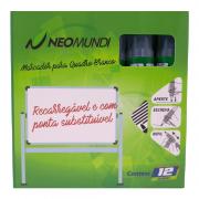 Marcador para Quadro Branco Recarregável Verde NeoMundi com 12 Unidades