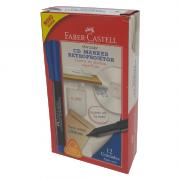 Marcador para Retroprojetor Azul 1.0mm 12 Unidades Faber Castell