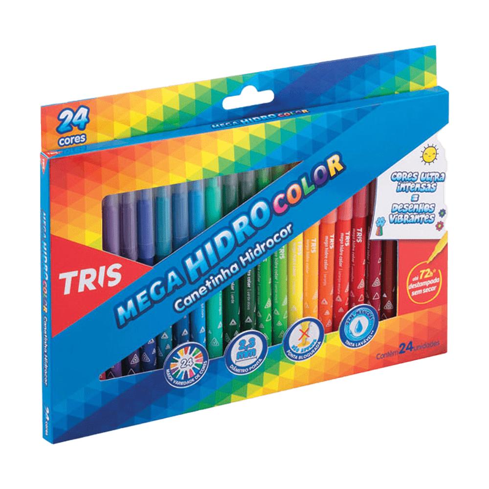 3 Caixas de Caneta Hidrográfica 24 Cores Ponta Fina Lavável Mega Hidro Color Tris