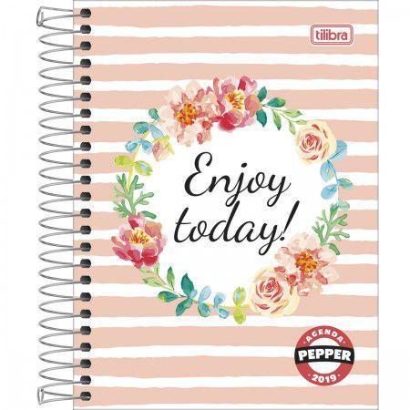 Agenda Diária Feminina Espiral Pepper Enjoy Today! 2019 Tilibra