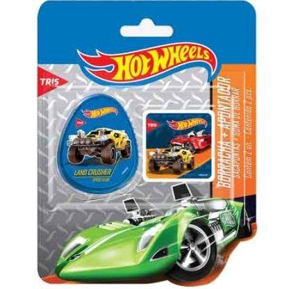 Apontador 1 Furo com Depósito + 1 Borracha Hot Wheels Basic Set Tris