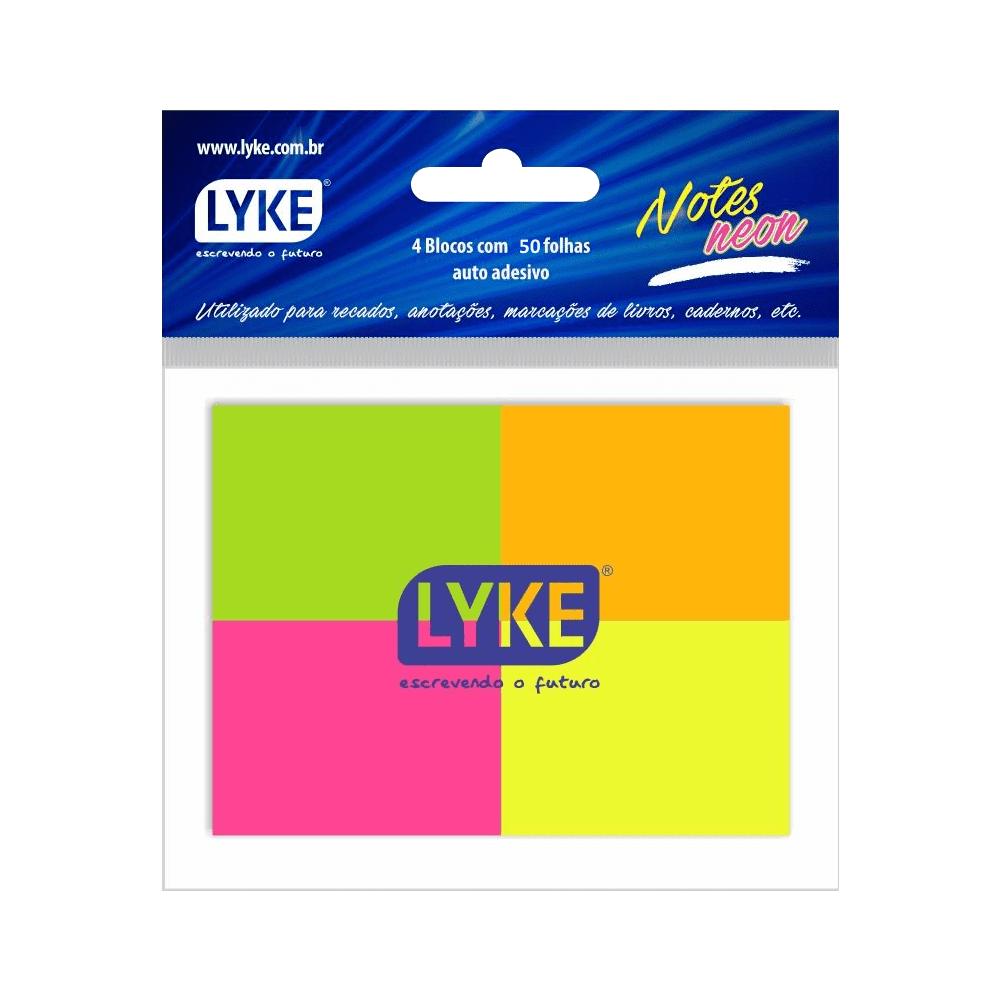 Bloco Auto-Adesivo 38 x 50mm 50 Folhas Colorido Lyke