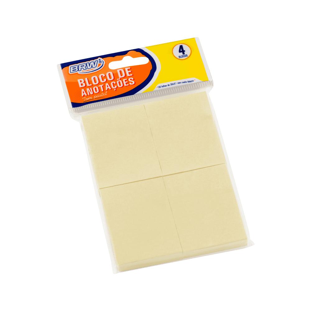 Bloco de Anotação Pastel 38 x 51mm Amarelo BRW