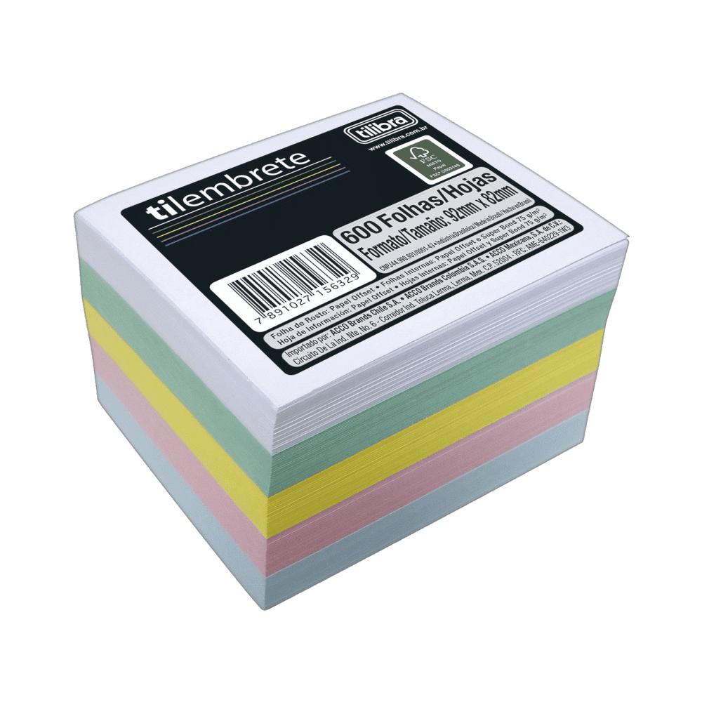 Bloco Tilembrete 92X82mm 600 Folhas 5 Cores Tilibra