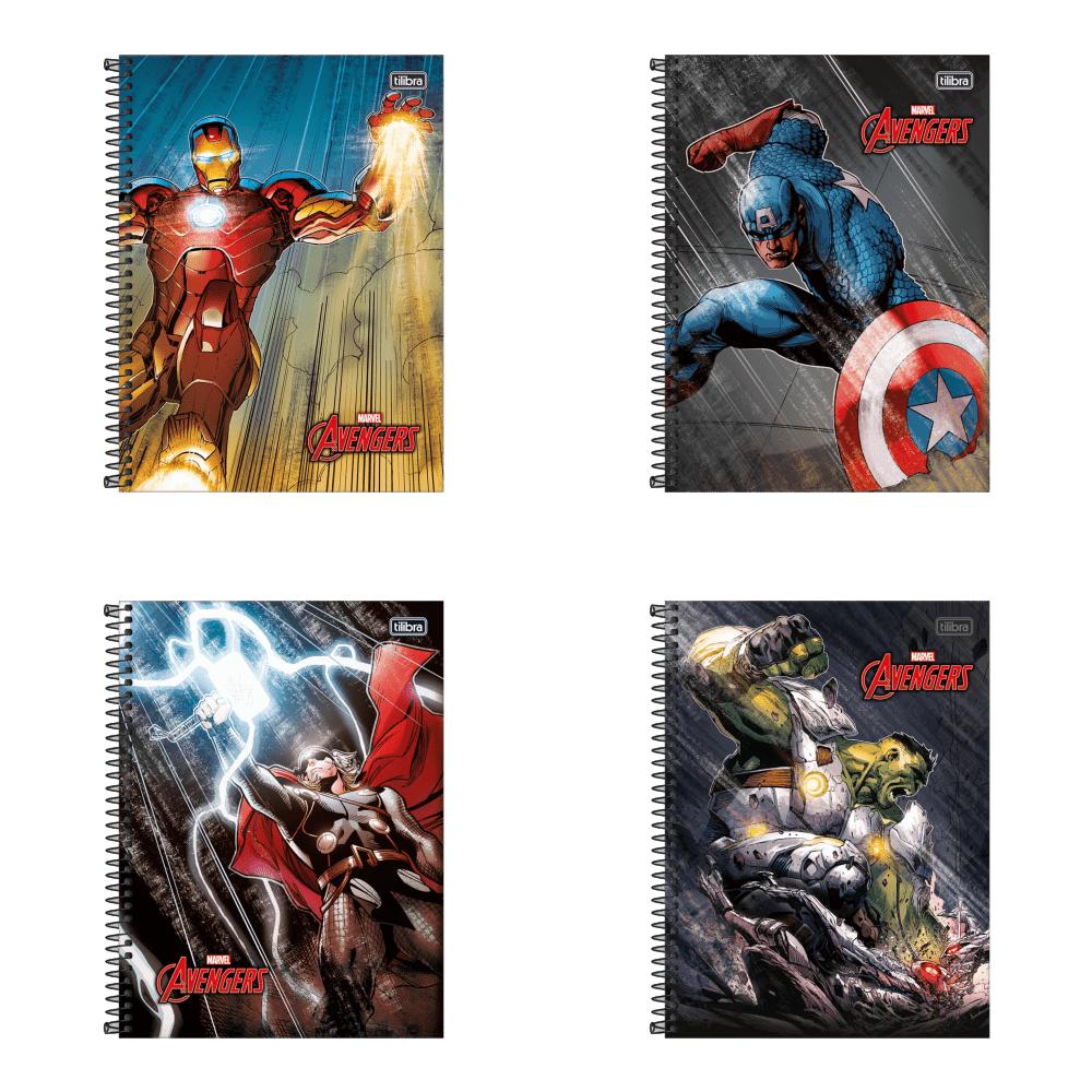 Caderno Espiral Capa Dura Universitário 1 Matéria Avengers 96 Folhas Tilibra
