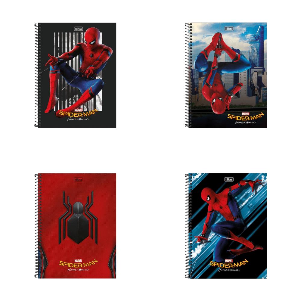 Caderno Espiral Capa Dura Universitário 1 Matéria Spider-Man 80 Folhas Tilibra
