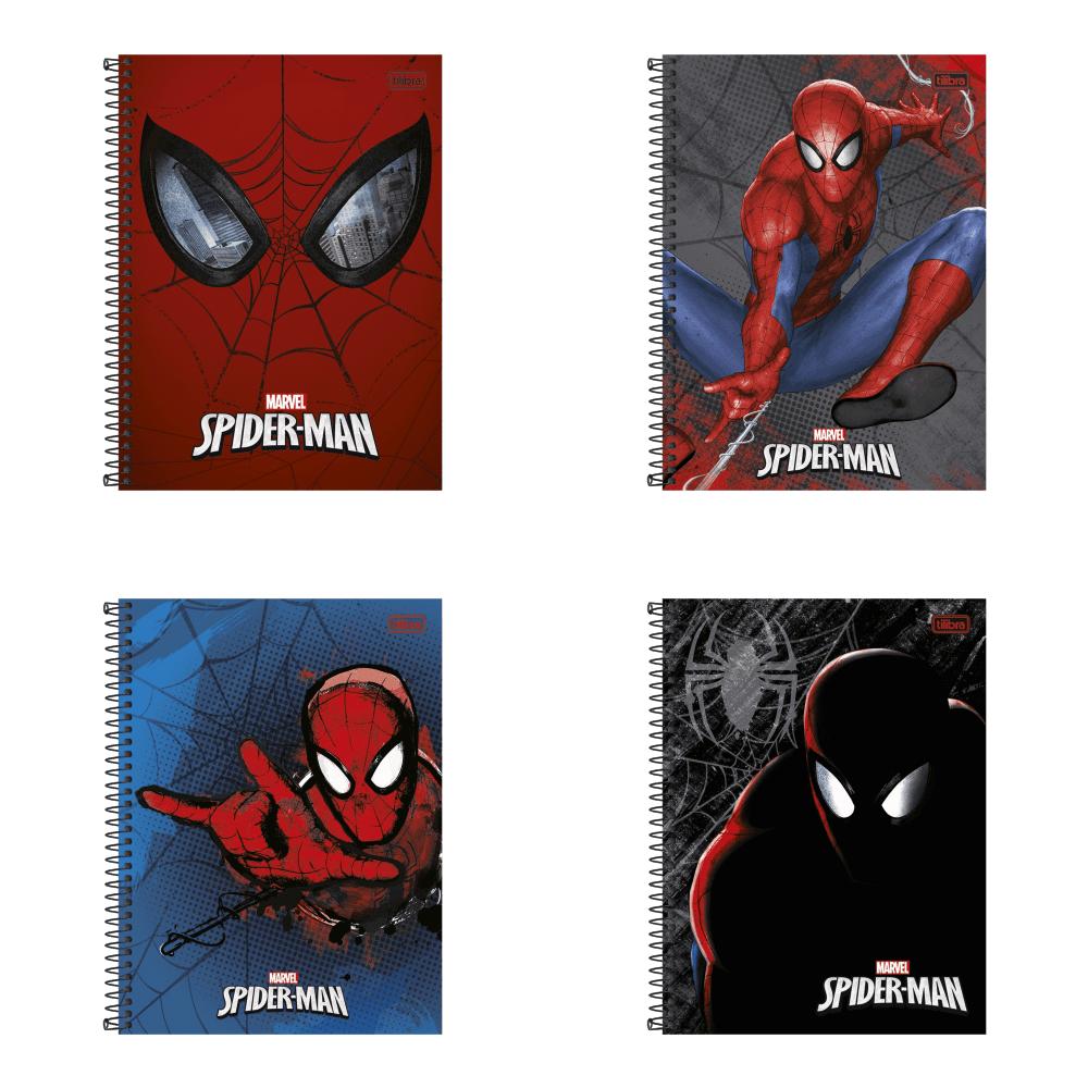 Caderno Espiral Capa Dura Universitário 1 Matéria Spider-Man 96 Folhas Tilibra