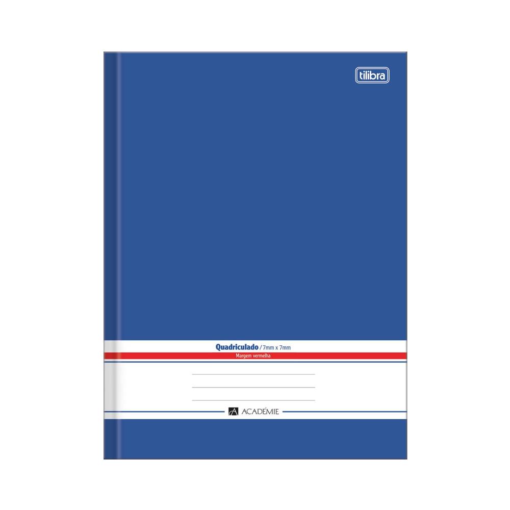 Caderno Quadriculado 7X7 mm Brochura Capa Dura Universitário Académie Azul 96 Folhas Tilibra