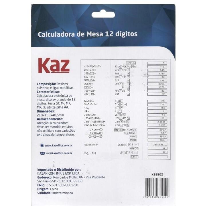 Calculadora de Mesa 12 Dígitos KZ9802 Kaz