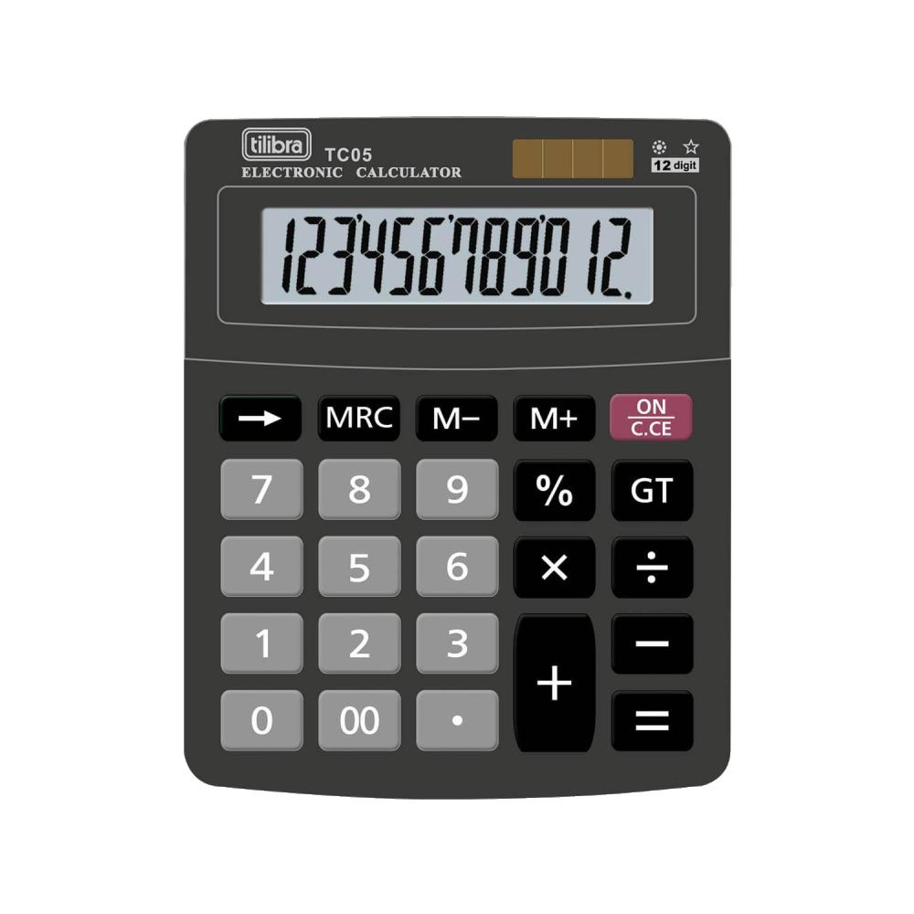 Calculadora de Mesa 12 Dígitos Pequena TC05 Preta Tilibra