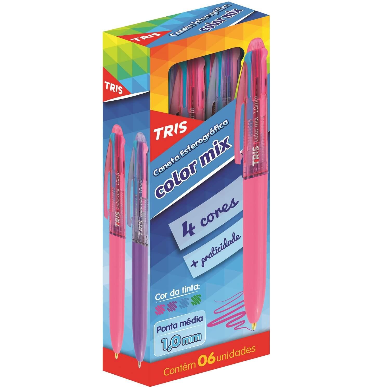 Caneta Esferográfica 4 Cores Especiais 1mm Color Mix Tris