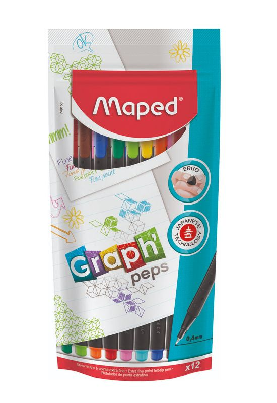 Caneta Fineliner Graph'Peps Ponta de 0,4mm 12 Cores Maped