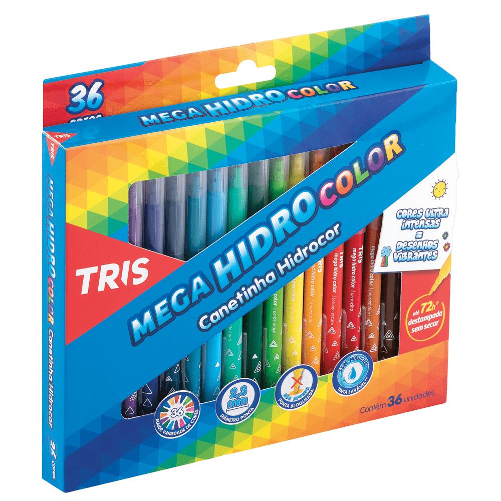 Caneta Hidrocor 36 Cores Ponta Fina Lavável Mega Hidro Color 3 Caixas Tris