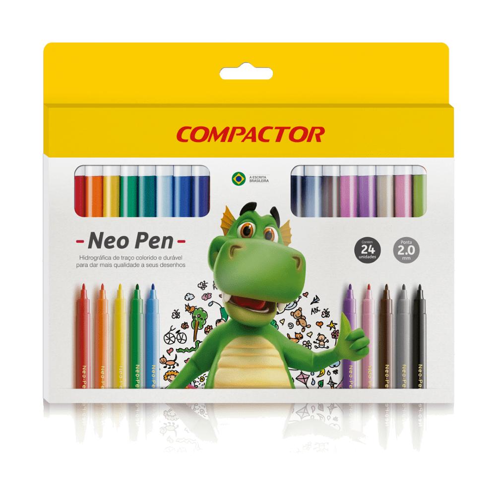 Caneta Hidrocor Neo-Pen Gigante 24 Cores Compactor