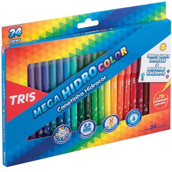 Caneta Hidrográfica 24 Cores Ponta Fina Lavável Mega Hidro Color Tris