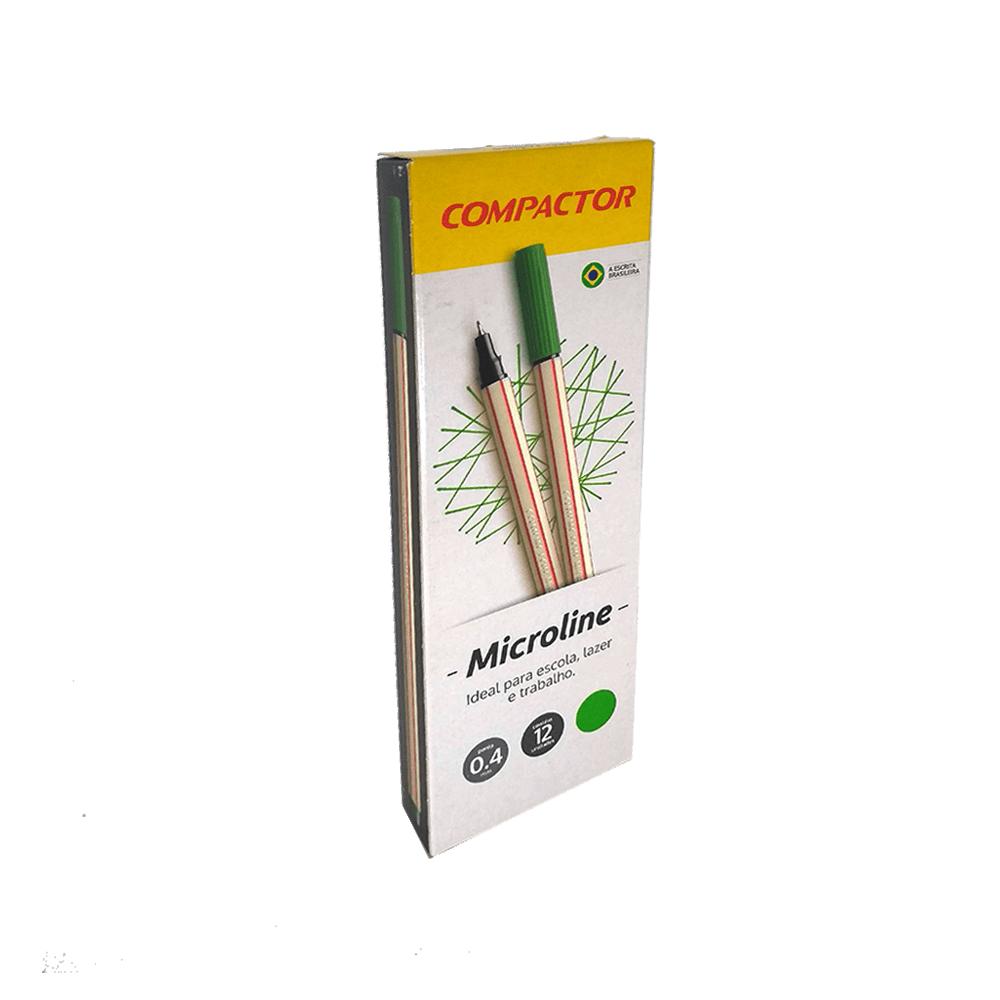 Caneta Microline 0,4mm Verde 12 und Compactor