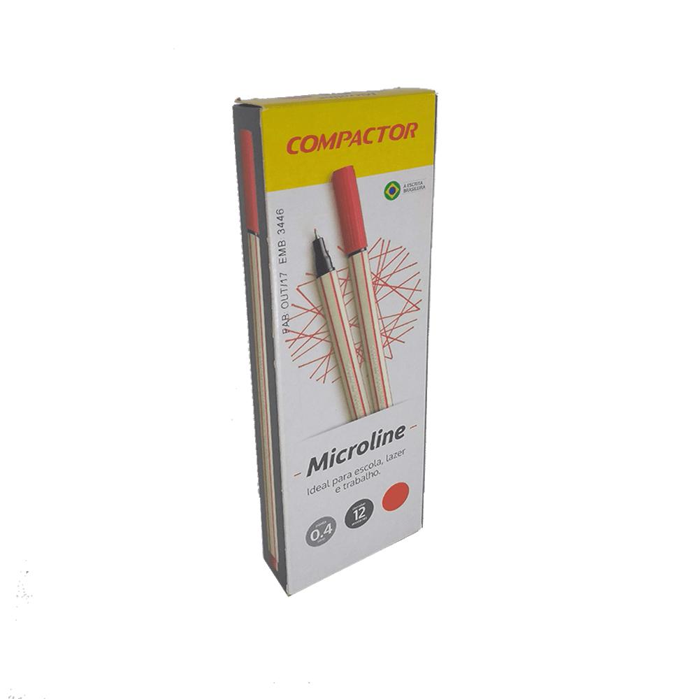 Caneta Microline 0,4mm Vermelho 12 und Compactor