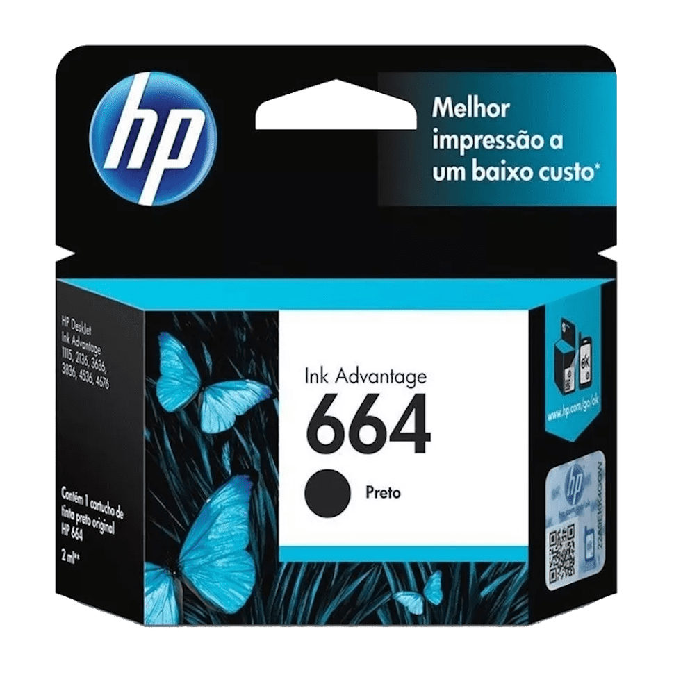 Cartucho de Tinta 664 Preto 2ml HP