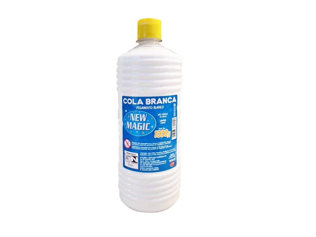 Cola Branca Escolar Líquida New Magic 1000gr GR Química c/ 6