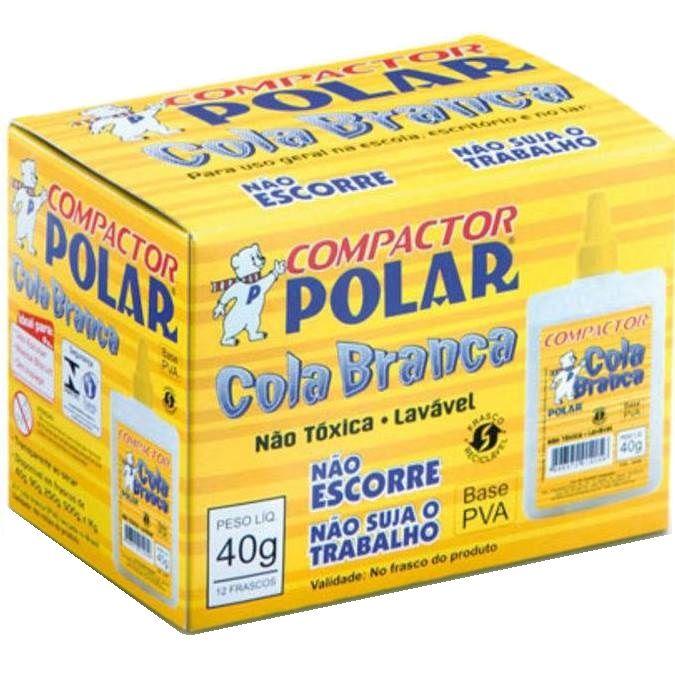 Cola Branca Escolar Líquida Polar 40gr 12 unidades Compactor
