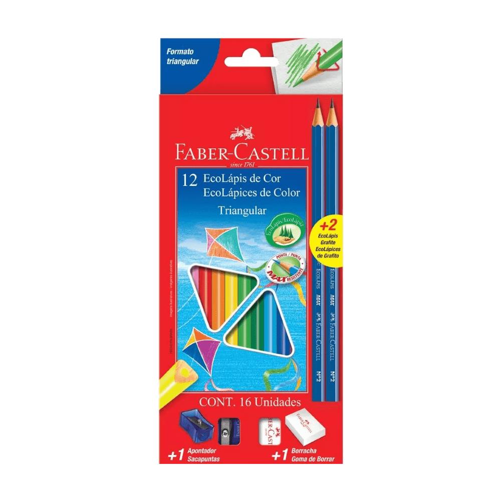 Ecolápis de Cor Triangular 12 Cores Faber Castell