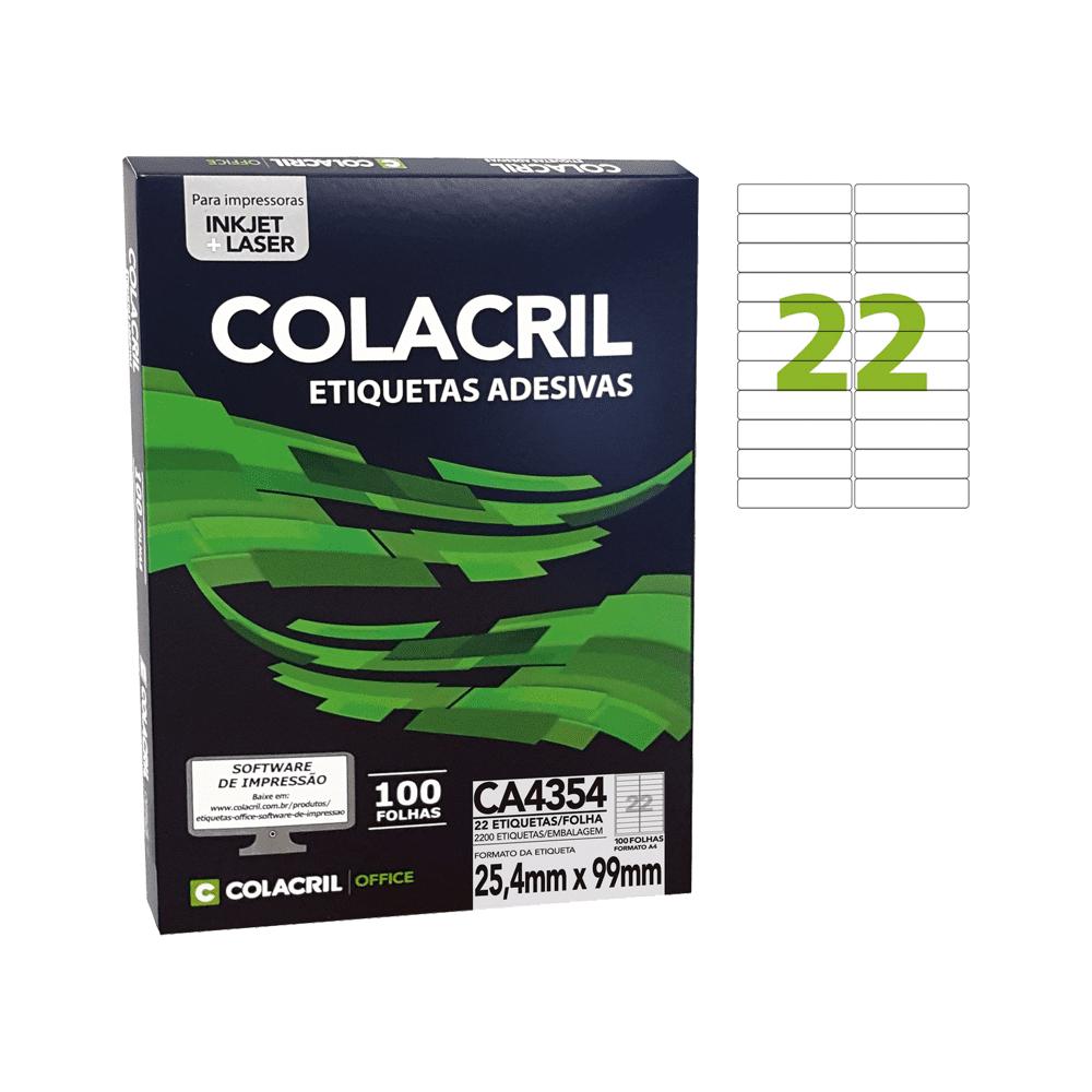 Etiqueta A4 25,4mm x 99mm 100 folhas Colacril