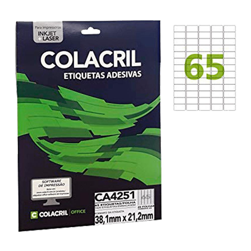 Etiqueta A4 38,1 x 21,2 mm 25 Folhas CA4251 Colacril