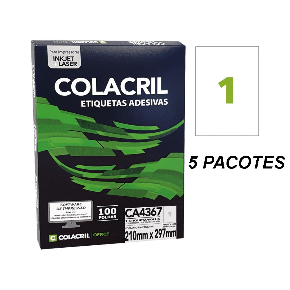 Etiqueta A4 38,1mm x 63,5mm 500 folhas CA4367 Colacril