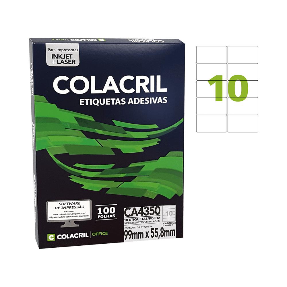 Etiqueta A4 99mm x 55,8mm 100 folhas Colacril