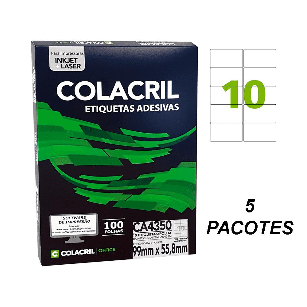 Etiqueta A4 99mm x 55,8mm 500 folhas CA4350 Colacril