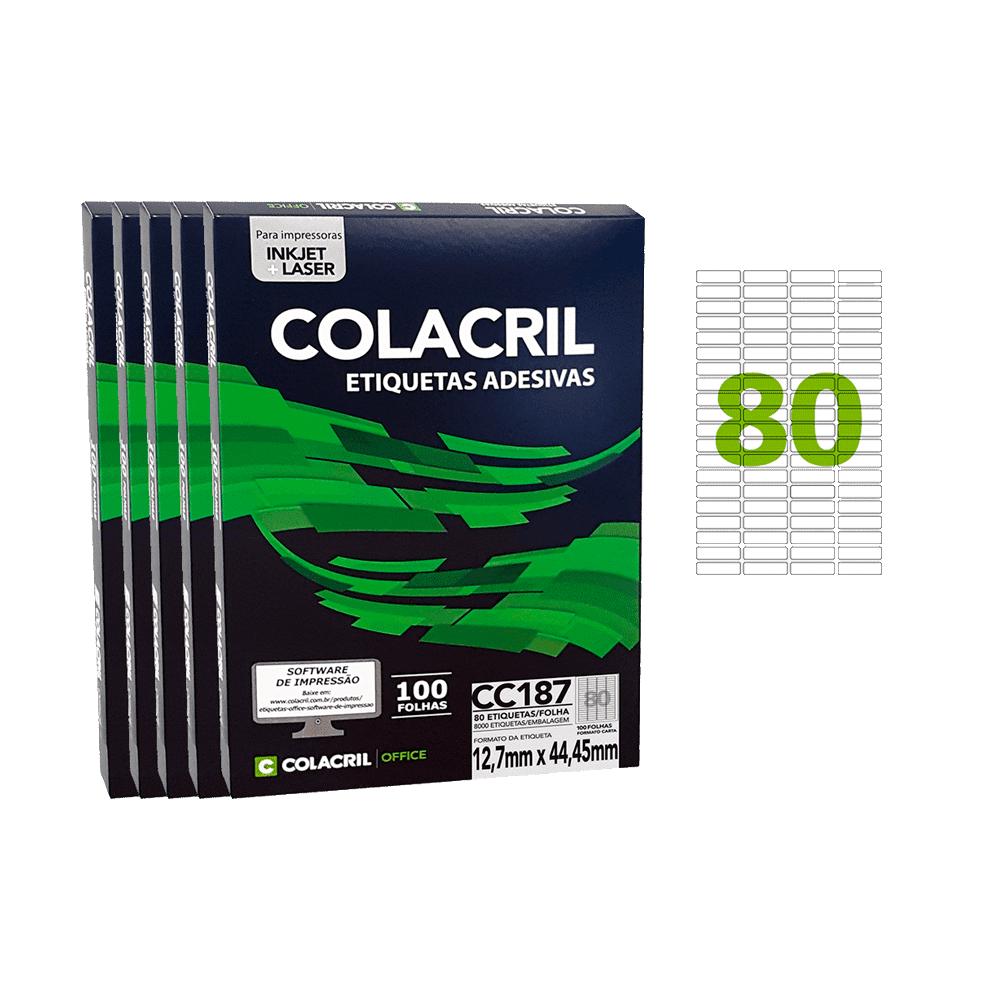 Etiqueta Carta 12,7mm x 44,45mm 500 folhas CC187 Colacril