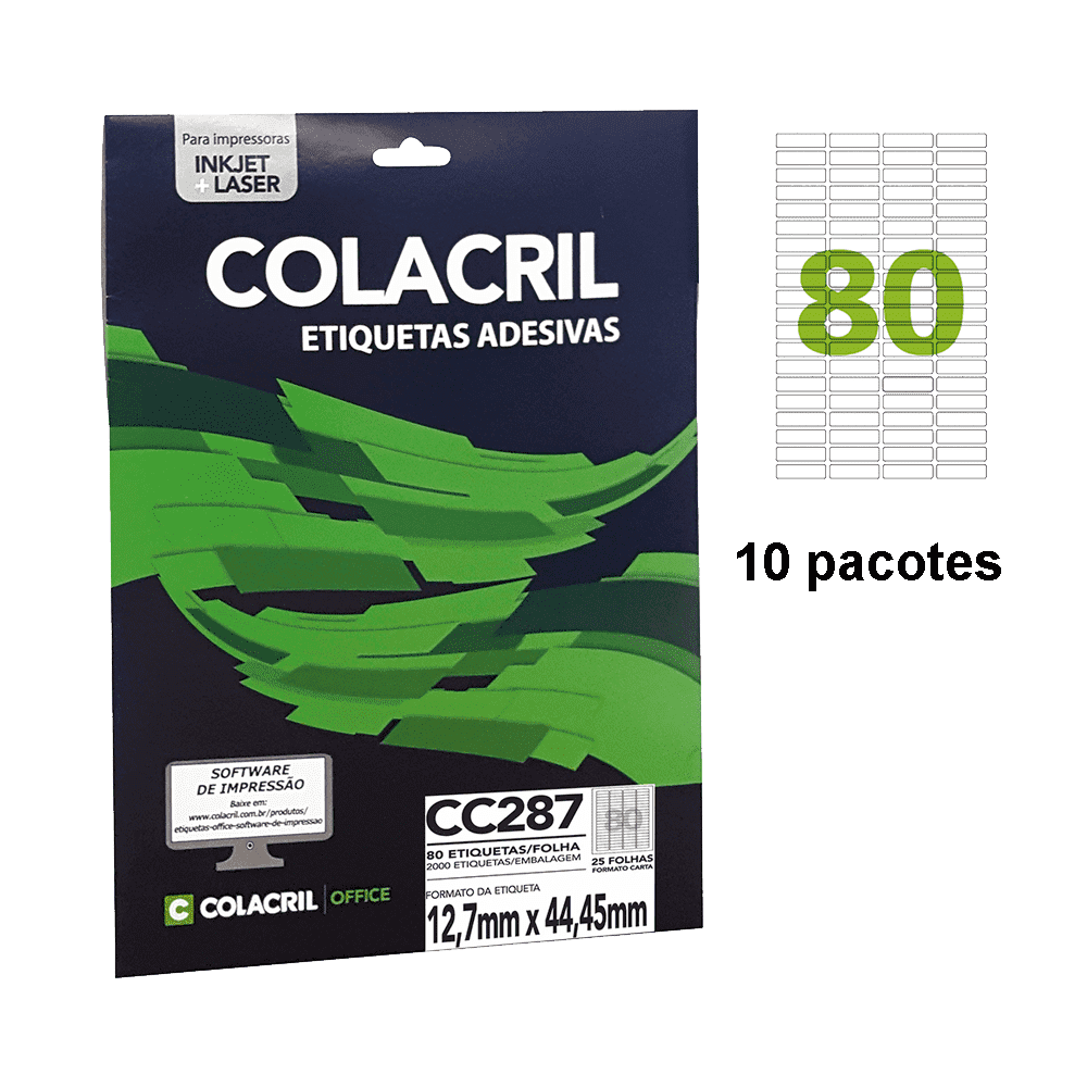 Etiqueta Carta 12,7mm x 44,45mm 250 folhas CC287 Colacril