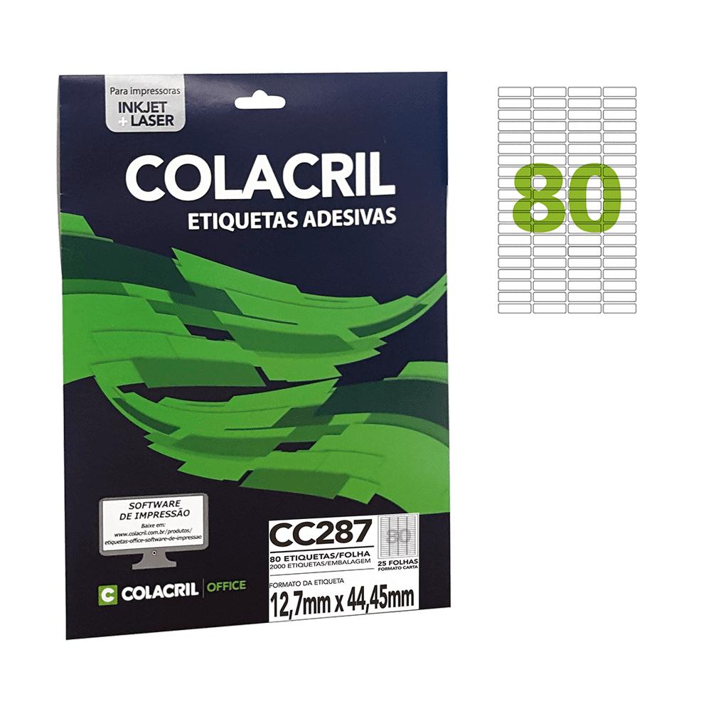 Etiqueta Carta 12,7mm x 44,45mm 25 folhas Colacril