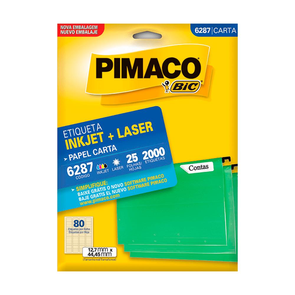 Etiqueta Carta 12,7mm x 44,45mm 25 Folhas 6287 Pimaco