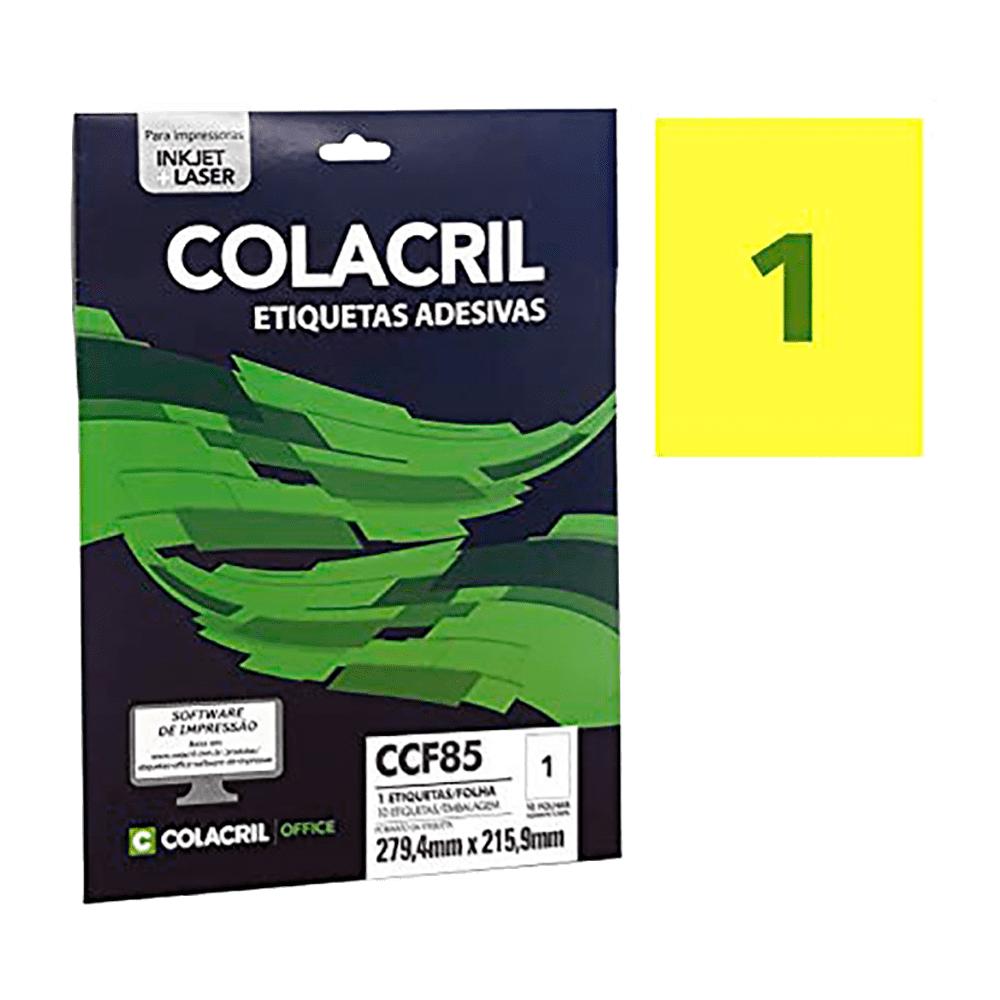 Etiqueta Carta 279,4 x 215,9 mm 10 Folhas Amarelo CCF85 Colacril